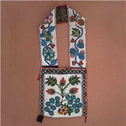Anishinaabe Fully Beaded Bandolier Bag c. 1890