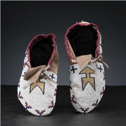 Cree Fully Beaded Hide Moccasins c. 1890