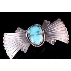Old Pawn Navajo Sterling Silver & Turquoise Brooch