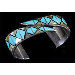 Signed Navajo Multi Stone Sterling Silver Cuff