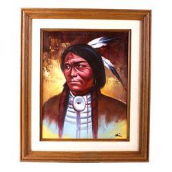 Original Crow Indian Warrior Oil Painting Klein