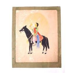 Original Juan Mirabal Taos Pueblo Painting c. 1936