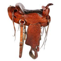 Vintage Western Ornate Tooled Saddle