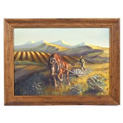 G.C. Wentworth Plowing Fields Oil Painting c. 1967