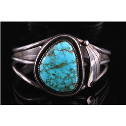 Navajo Sterling Silver and Blue Gem Turquoise Cuff