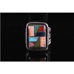 Signed Sterling Silver Mosaic Inlay Ring