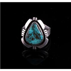 Signed Navajo Sterling and Blue Gem Turquoise Ring