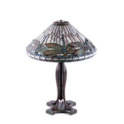 Original Tiffany Dragonfly Stained Glass Lamp