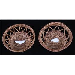 Tlingit Inuit Spruce Root & Ivory Fetish Baskets