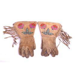 Crow Floral Beaded Gauntlet Gloves c. 1900