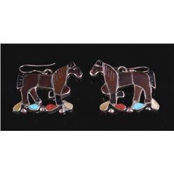 Navajo Multi Stone Sterling Silver Horse Earrings