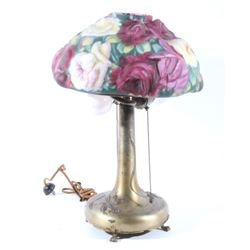 Pairpoint Puffy Reverse Painted Floral Lamp