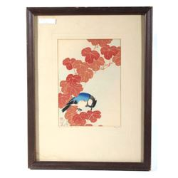 Blue Bird On Red Vine Japanese Woodcut Print