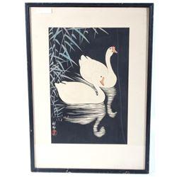 Swan and Reeds Woodcut Print by Shoson Ohara c1928