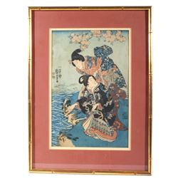 Women Near the Water Painting by Kuniyoshi c1849