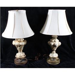 1950's Vintage Capo Di Monte Porcelain Lamps