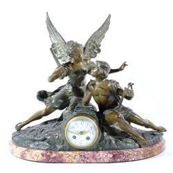 Geo Maxim Bronze and Porcelain Mantle Clock