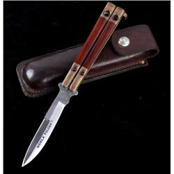 Manila Folder Butterfly Knife with Leather Case