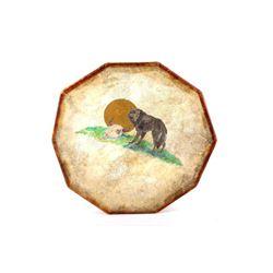 Plains Indians Wolf Painted Buffalo Hide Drum