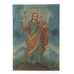 Late 19th Century Mexico Retablo Christ Painting