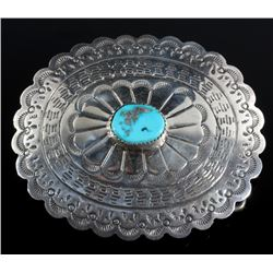 Navajo Turquoise and Sterling Silver Belt Buckle