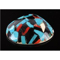 1950s Zuni Inlaid Mosaic Shell Necklace Pendant