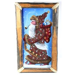 Signed Santa Claus Painting with Rustic Frame