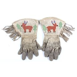 Crow Native American Beaded Gauntlet Gloves