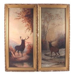 Pair of Bull Elk Day & Night Giclee Prints