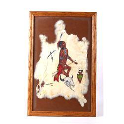 1968 Stanley Harrison Indian Rabbit Hide Painting
