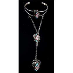 Navajo Sterling Silver & Multistone Slave Bracelet