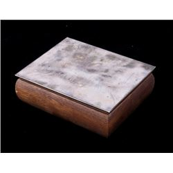 Antique Newport Sterling Silver Wood Jewelry Box