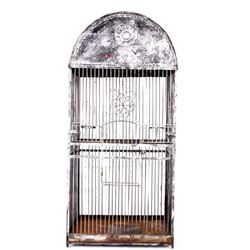 Antique Large Wire And Pressed Steel Bird Cage