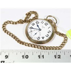 VINTAGE ELGIN GOLD PLATE POCKET WATCH WITH CHAIN