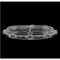 4.40 ctw Tanzanite and Diamond Bracelet - 14KT White Gold