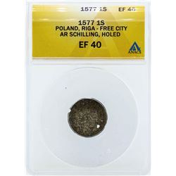 1577 Poland Schilling Coin ANACS EF40