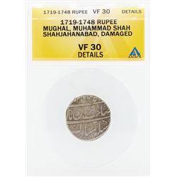 1719-1748 Rupee Mughal Muhammad Shah Shahjahanabad Damaged Coin ANACS VF30 Detai
