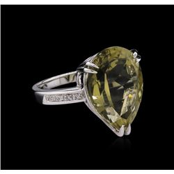 11.60 ctw Lemon Quartz and Diamond Ring - 14KT White Gold