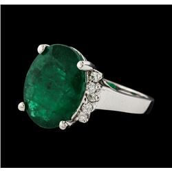 7.35 ctw Emerald and Diamond Ring - 14KT White Gold