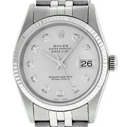 Rolex Mens Stainless Steel Silver Diamond Datejust Wristwatch