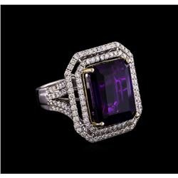 14KT Two-Tone 11.31 ctw Amethyst and Diamond Ring