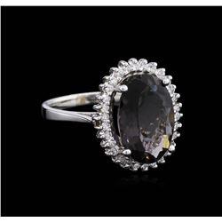 14KT White Gold 3.96 ctw Tourmaline and Diamond Ring