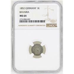 1852 Germany Kreuzer Bavaria Coin NGC MS64