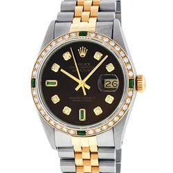 Rolex Mens 2 Tone 14K Brown Diamond & Emerald 36MM Datejust Wristwatch
