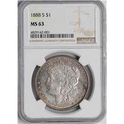 1888-S $1 Morgan Silver Dollar Coin NGC MS63 Nice Reverse Toning