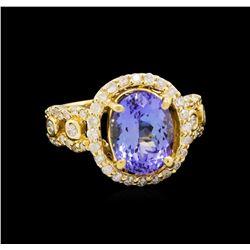 14KT Yellow Gold 3.43 ctw Tanzanite and Diamond Ring