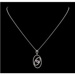 0.25 ctw Green Turquoise and Diamond Pendant With Chain - 14KT White Gold