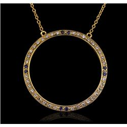 14KT Yellow Gold 0.20 ctw Sapphire and Diamond Pendant With Chain