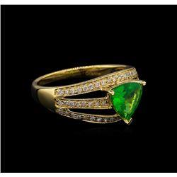 1.17 ctw Tsavorite and Diamond Ring - 14KT Yellow Gold
