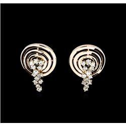 0.88 ctw Diamond Earrings - 14KT Two-Tone Gold
